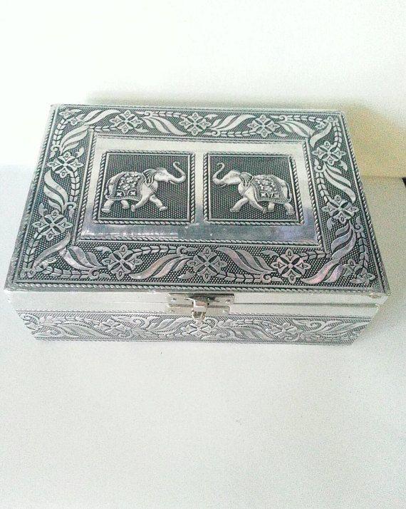 Elephant Jewelry Box : elephant, jewelry, Silver, Metal, Elephants, Relief, Jewelry, India., Elephant, Jewelry,, Metallic