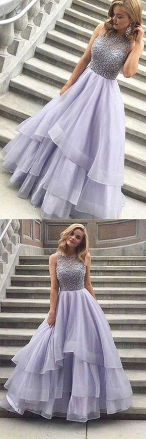 A-line Scoop Floor-Length Prom Dress, Lavender Organza Evening Dress M6772