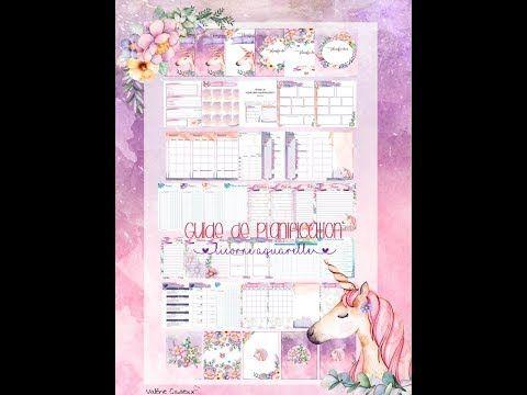 Guide De Planification Licorne Aquarelle Planificateur Licorne