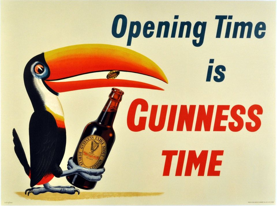 Vintage Guinness Time Is Opening Time Beer Toucan Parrot Ad Giclee ...