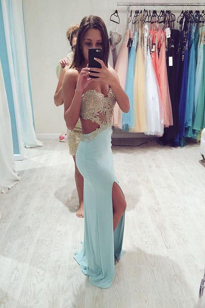 Real Sexy Long Front Split Light Sky Blue Open Back Prom Dresses – Okdresses