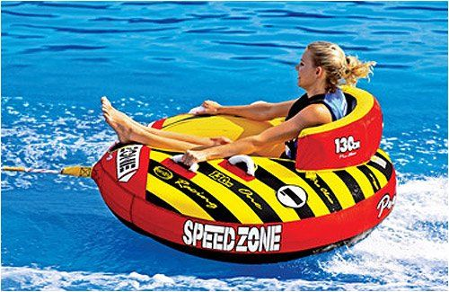 Amazon Com Speedzone 1 Towable Tube With Optional 2k Tow Rope Sportsstuff Waterskiing Towables Patio Lawn Amp Garde Water Park Towable Tubes Lake Toys
