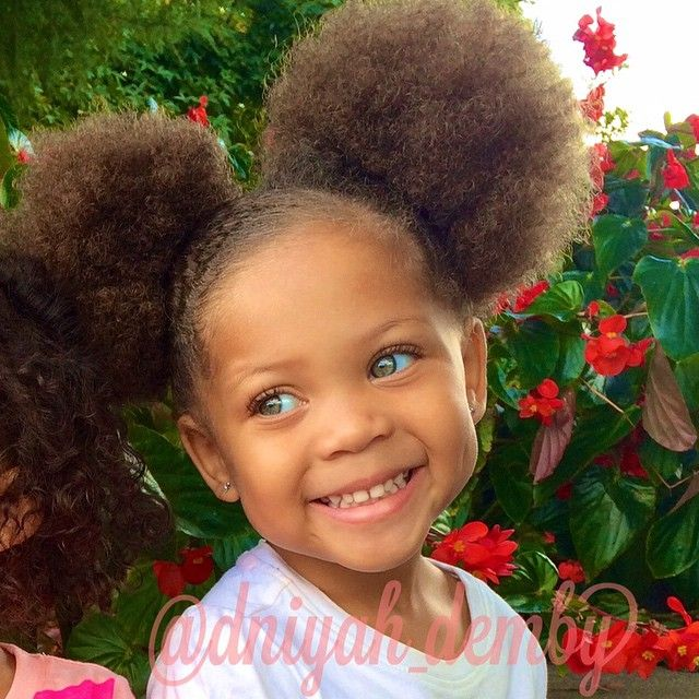 Stupendous Afro Puffs On Cute Little Girl Light Eyes Kids Hairstyles Natural Hairstyles Runnerswayorg