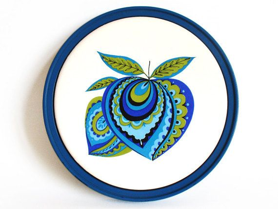 Scandinavian style ceramic trivet with stylised by RetroDelia