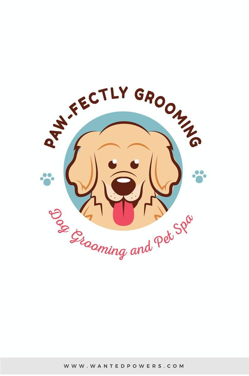 Cute Golden Retriever Smiling Dog Logo Custom Pre Made Logo