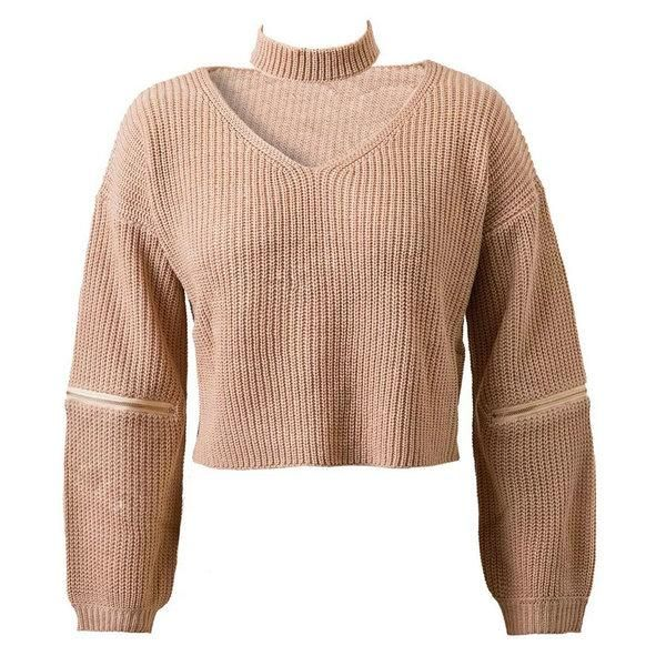 4 Colors Knitted Crop Top Sweater Jumper Pullover Long Sleeve Zipper Slit Loose Casual Oversized 2017 Women Autumn Fall