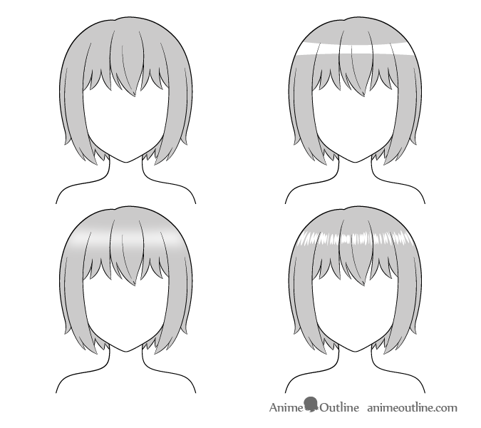 Different Ways To Draw Anime Hair Highlights Animeoutline Anime Hair Drawings Drawing Examples