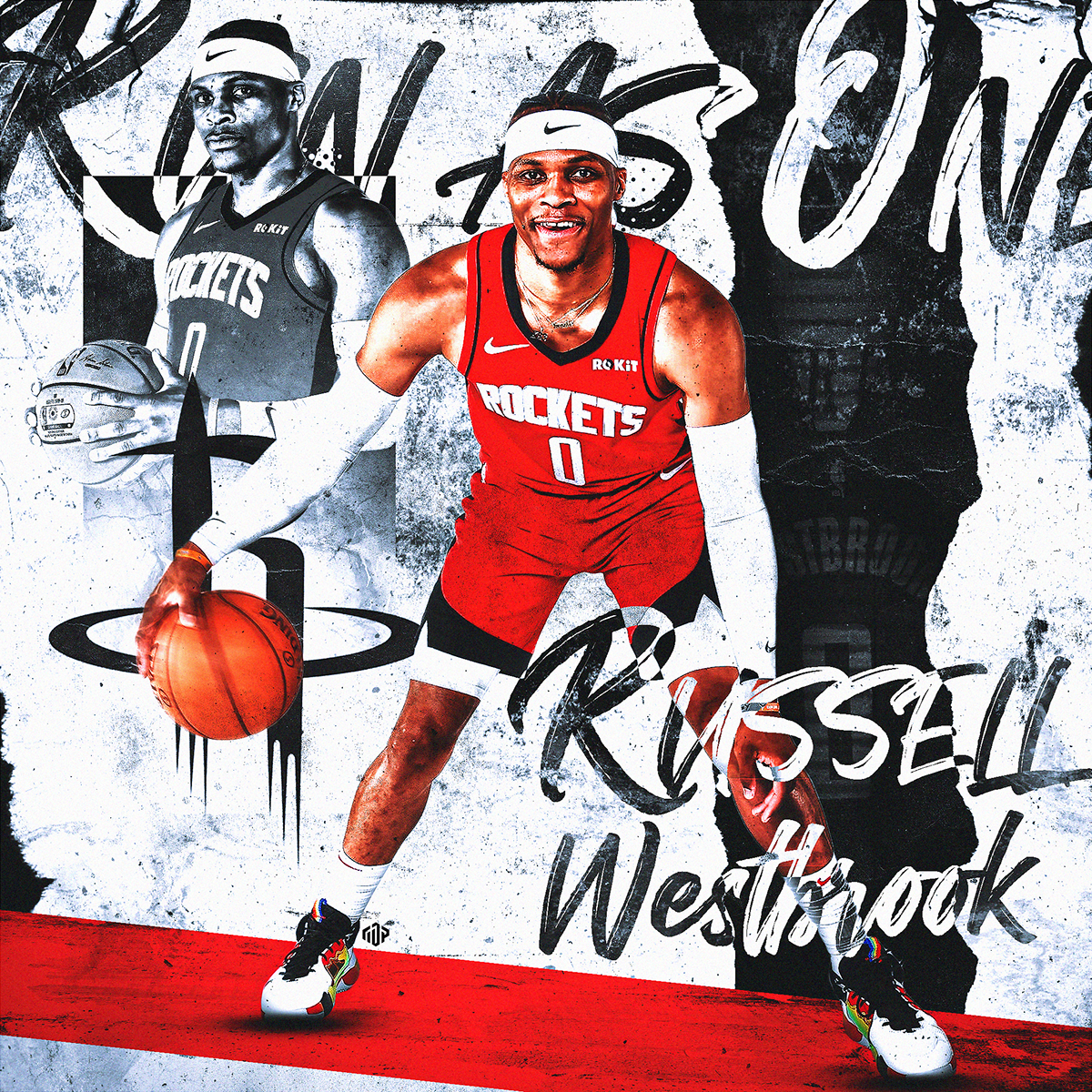 Russell Westbrook Houston Rockets Grunge On Behance Houston Rockets Russell Westbrook Westbrook