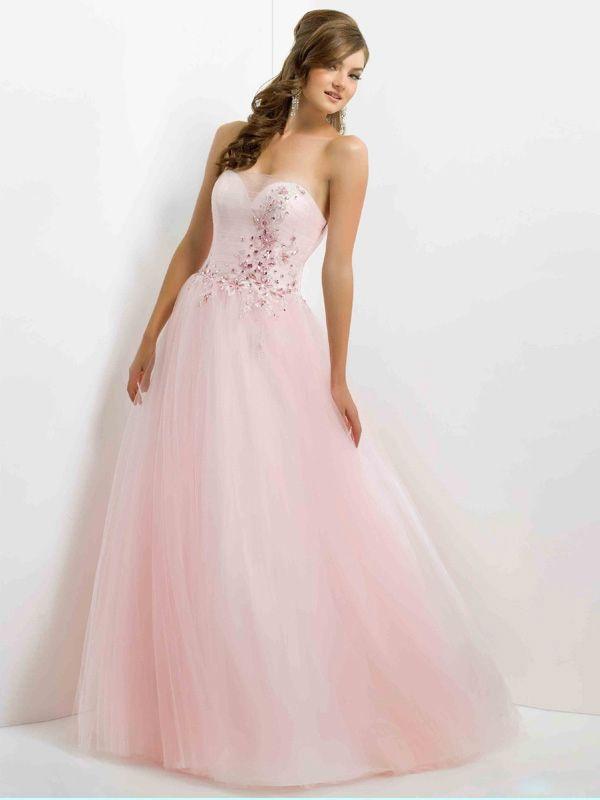 light pink strapless princess quinceanera dresses 2013 at