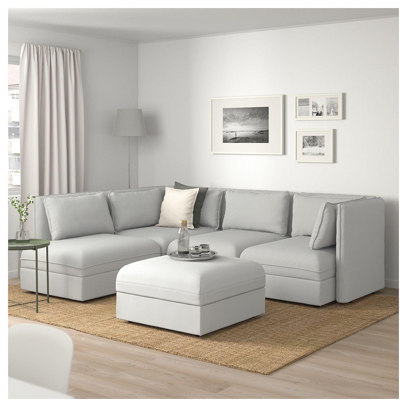 Vallentuna Canape D Angle Modulaire 4 Places Avec Rangement Orrsta Murum Gris Clair Blanc Ikea Modular Corner Sofa Sofa Bed With Storage Vallentuna