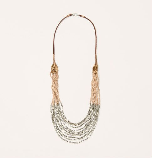 """I love this necklace (""""Sandy pink and metallic seed beads string this beachy beauty. Lobster claw clasp. 15"""" drop.""""), but not the price I'm going to try and duplicate it -shouldn't be too difficult"""
