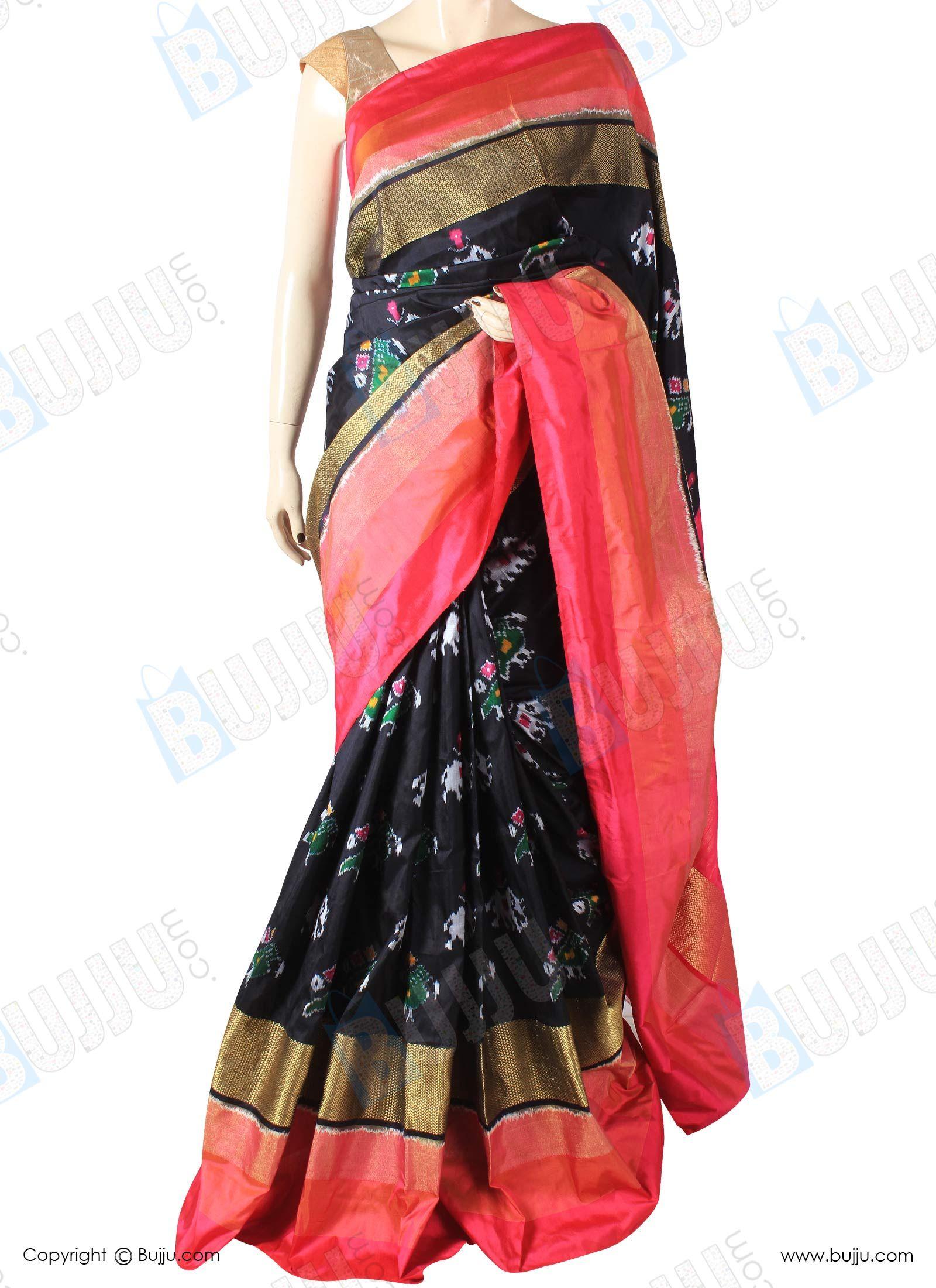 Pochampally Ikat Pattu Saree Double Tissue Border with ...
