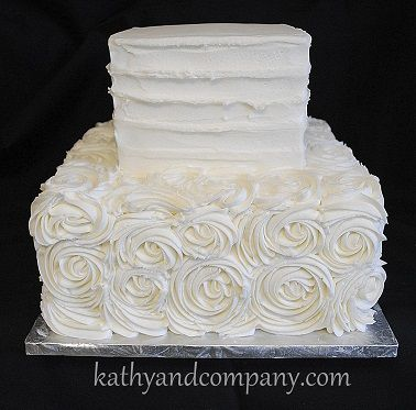 Square Buttercream Horizontal Lines And Rosettes Wedding Cake Rosette CakesRosette CakeSmall