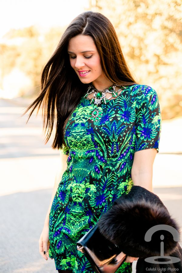 Accesorios para vestido azul verde