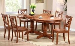 Oval Double Pedestal Dining Set With Double X Back Dining Chair Cinnamon Cinnamon Oval Table Dining Side Chairs Dining Pedestal Dining Table