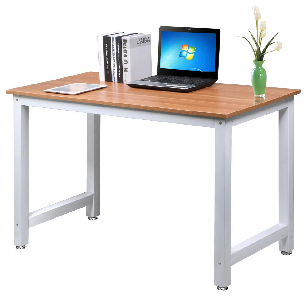 Yaheetech Modern Simple Design Home Office Desk Computer Table Wood Desktop Metal Frame Study Writing Desk Workstation Walmart Com Wood Computer Desk Simple Office Desk Simple Desk