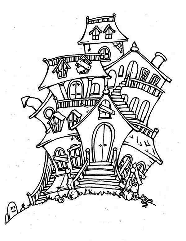 haunted house bad spirit in haunted house coloring page - Halloween House Coloring Pages