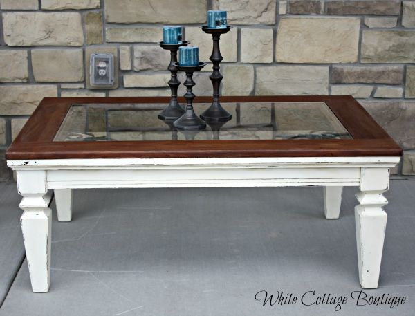White Rustic Distressed Coffee Table