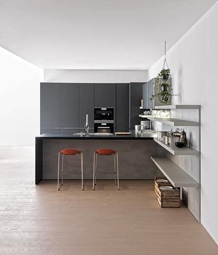 Cucina hi-tech per Casa minimale, varie finiture | Idea per angolo ...