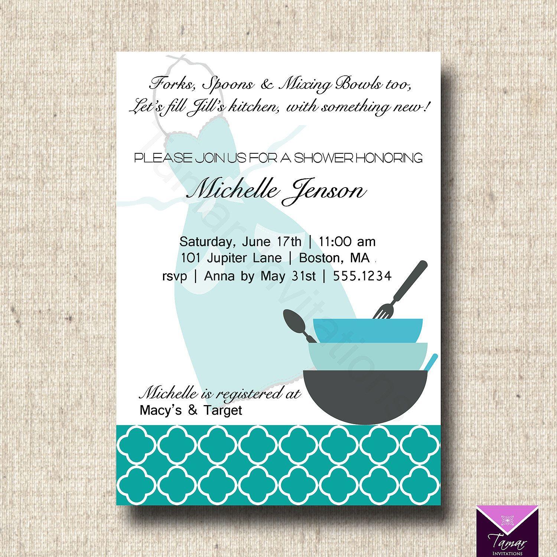 Printable Bridal Shower Invitation and Recipe by TamarInvitations ...