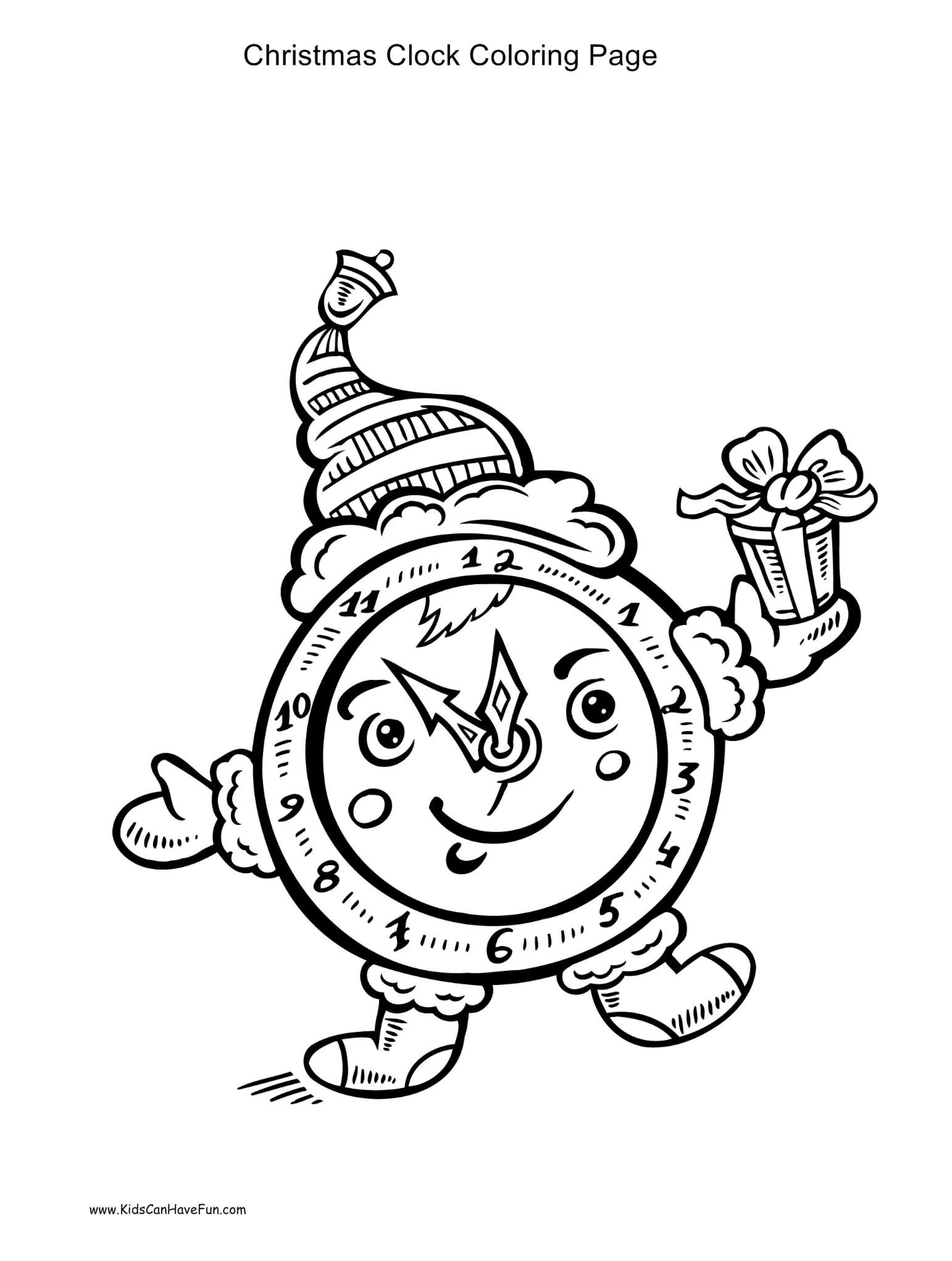 Christmas clock coloring page http://www.kidscanhavefun.com ...