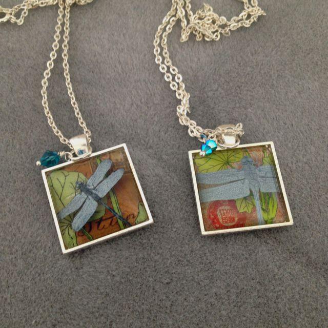 Dragonfly embellished pendants