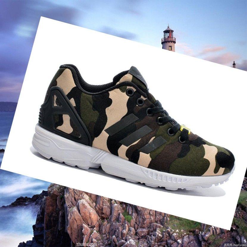 cb0357b0994fb Adidas Zx Flux Women s Shoes Camouflage Limited Edition  Dark-Green Black Beige