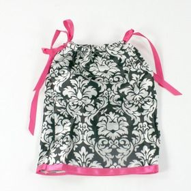 Damask & Hot Pink Doll Pillowcase Dress #pillowcasesandpillowcasedolls
