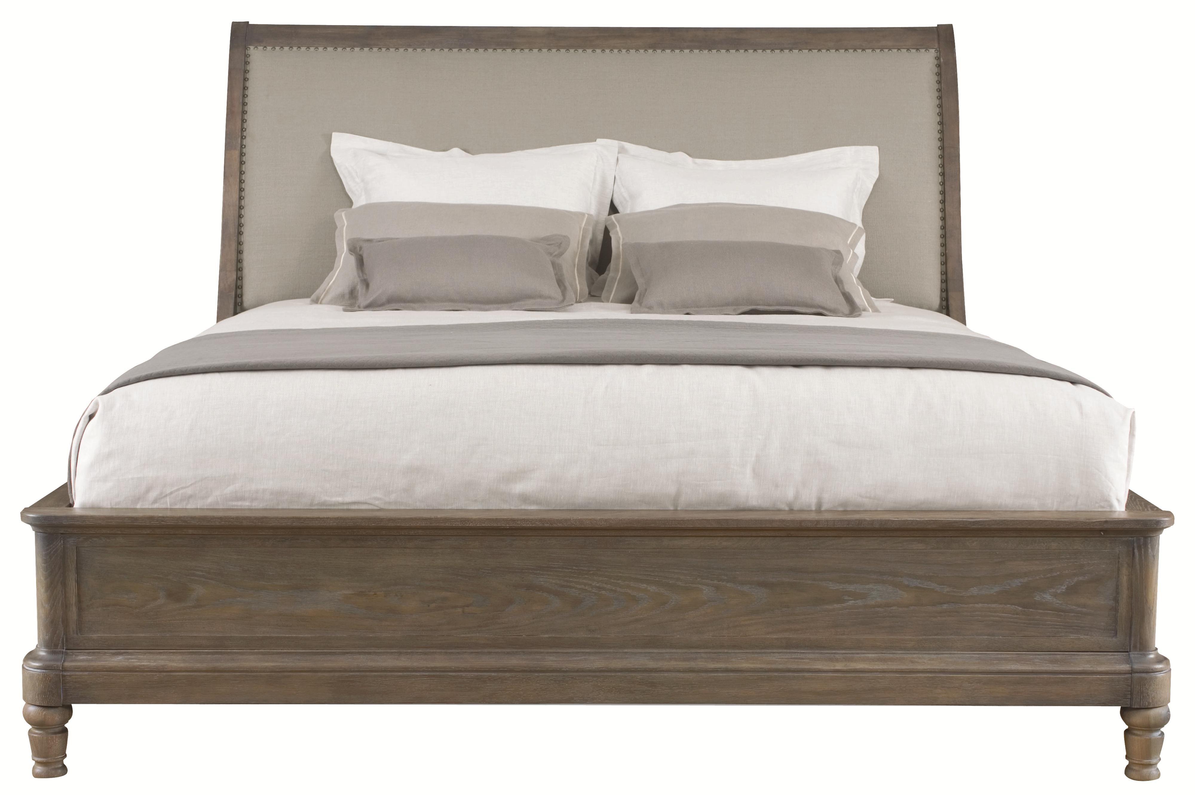 - Belgian Oak Upholstered King Size Sleigh Bed By Bernhardt Bed