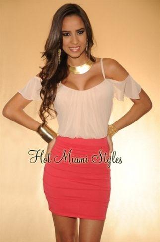 Coral Blush Chiffon Ruffled Top Knit Bandage Dress
