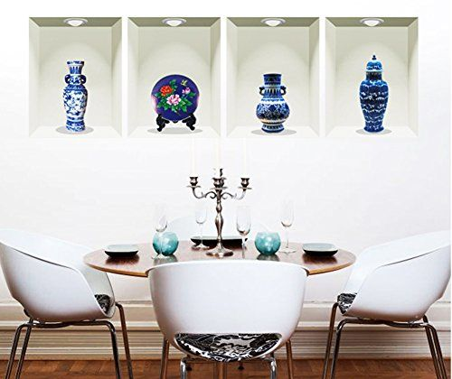 12 95 3d flowers vases blue and white porcelain wall windows
