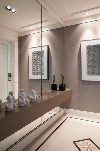 Adesivo De Herpes Labial ~ Aparadores com espelho na parede Aparador, Espelhos e