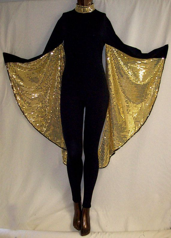 Black Spandex with Gold Sequin Wings Unitard Catsuit by NinaCorrea ... d61c58d891fa