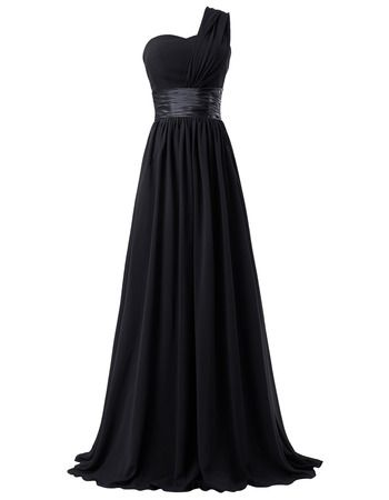 One Shoulder Chiffon Floor Length A Line Black Sleeveless Long Prom Dress