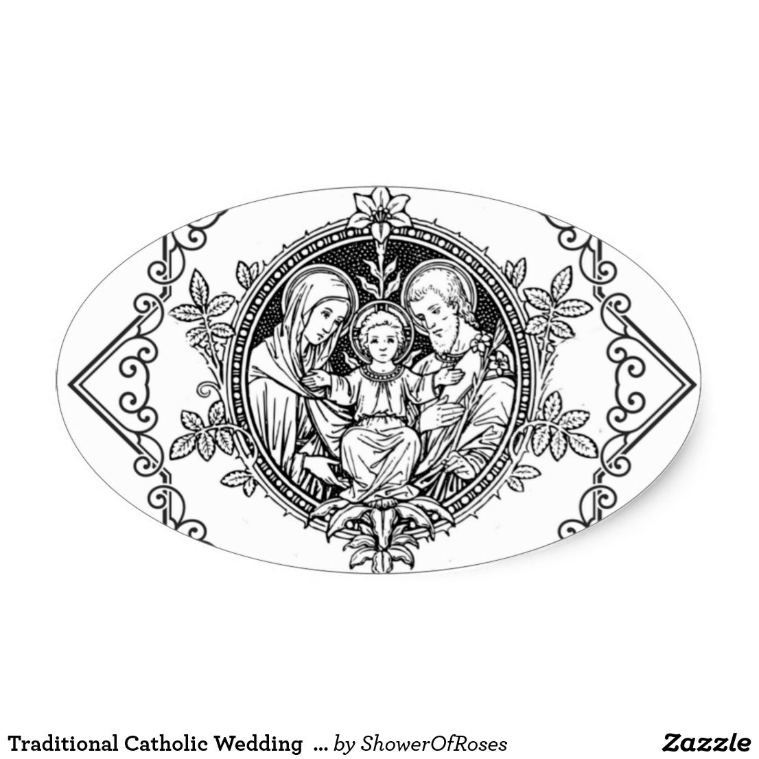 Traditional Catholic Wedding Holy Family Oval Sticker