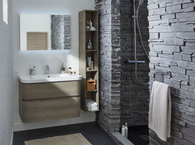 Salle de bains douche en pierre salle de bain - Idee salle de bain zen ...