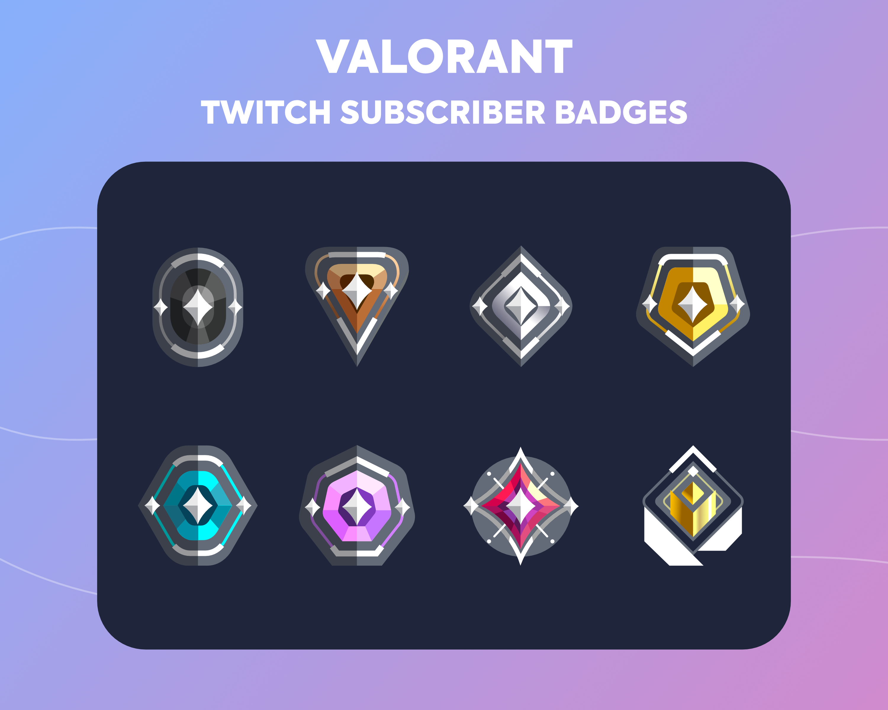 Twitch Sub Badges Cheer Bit Badges Valorant Ranks Etsy Twitch Badge Which Is Correct