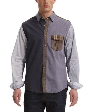 Another great find on #zulily! Gray Color Block Button-Up - Men #zulilyfinds