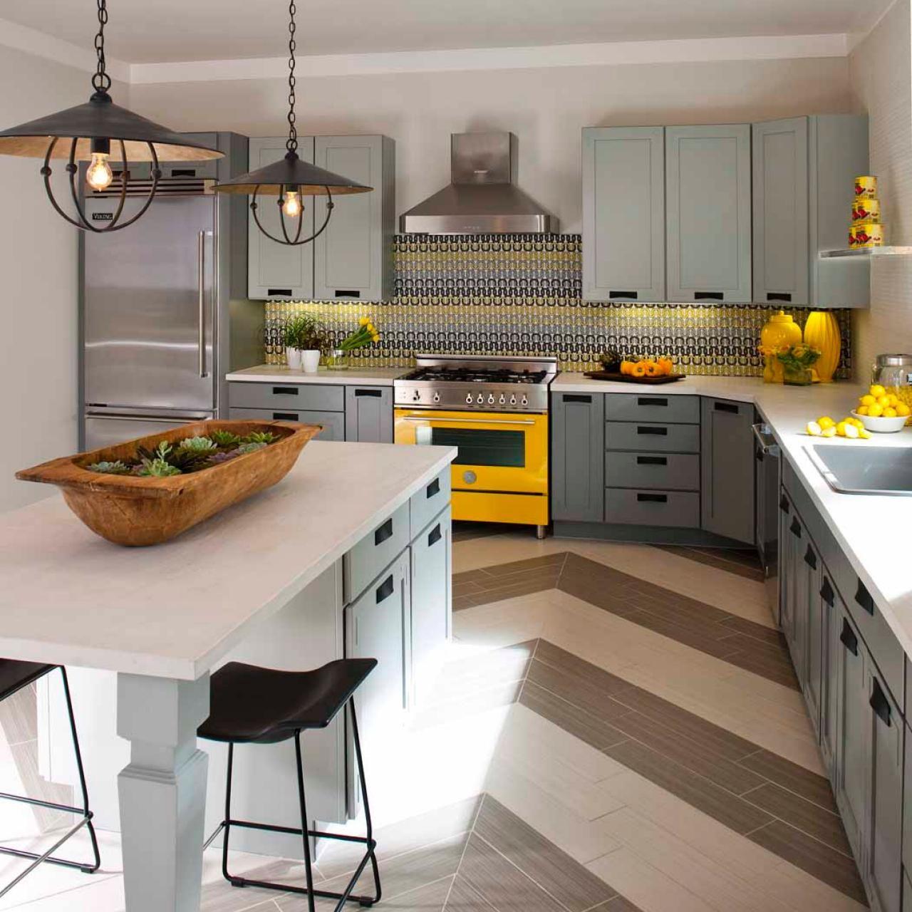 Best Modern Rustic Kitchen With Chevron Striped Floor 640 x 480