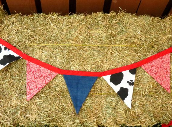Fabric pennant banner/ barnyard party banner/ western wedding banner/ cowboy party reusable banner