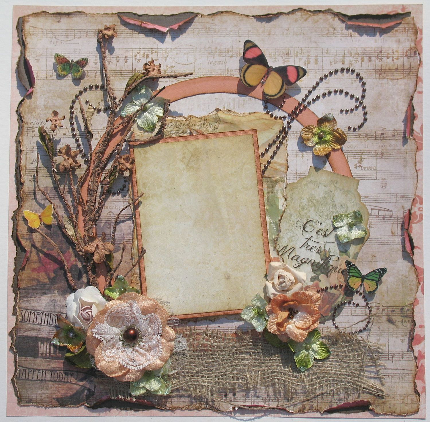 Scrapbook Page 12 x 12 Shabby Chic Layout Vintage | Shabby Chic ...