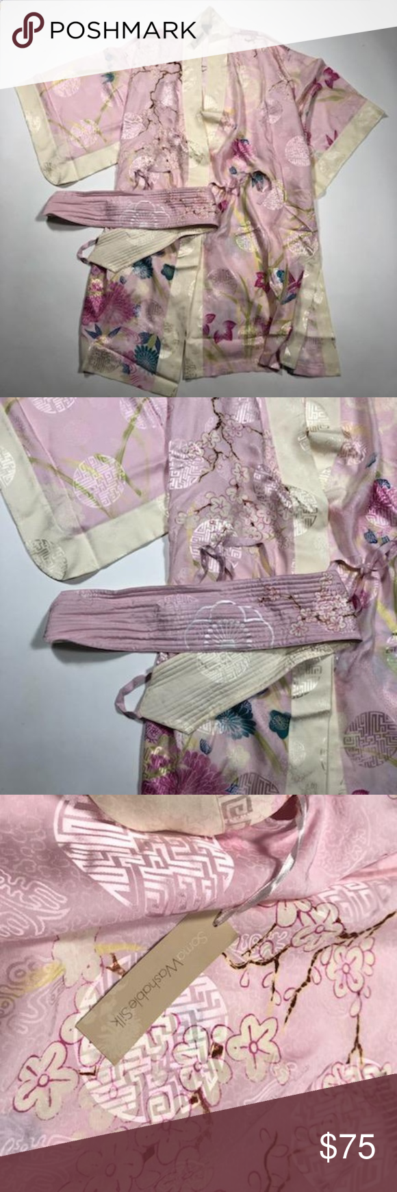 Soma Asian Garden Nagoya Robe Petal Pink New This Soma Asian Garden Nagoya Robe Is New With all Tags. Never worn. It is made of Washable Silk. Kimono Sleeves. Measurements  Width from back arm pit to arm pit 24 Inches Length from neck to him 42 Inches Soma Intimates & Sleepwear Robes #asiangarden
