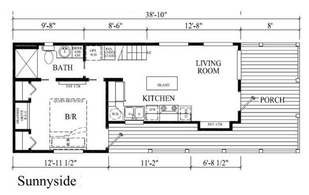 400 Sq Ft Sunnyside Park Model Tiny House On Wheels Small House Plans Tiny House Floor Plans Tiny House Plans