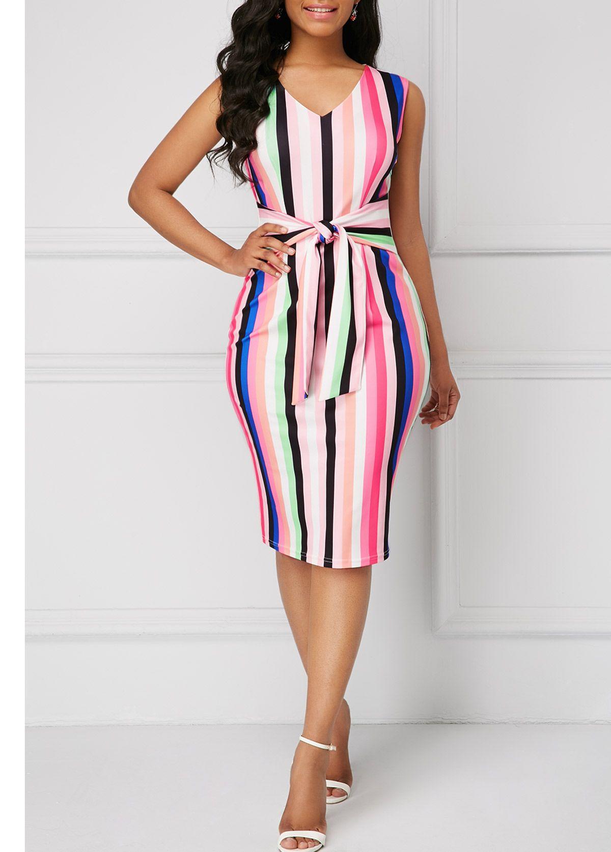 24ba70e282c Striped Tie Front Sleeveless Sheath Dress