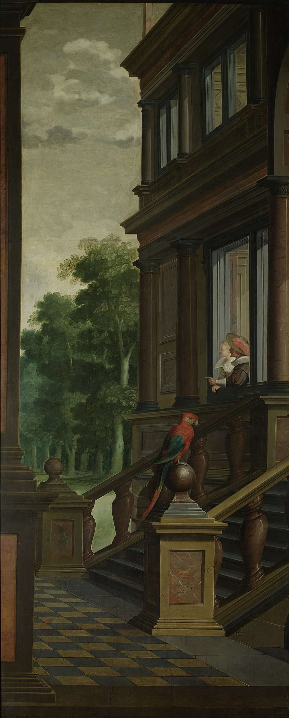 A Staircase, left side of the depiction. One of a seven-part room decoration, Dirck van Delen, 1630 - 1632