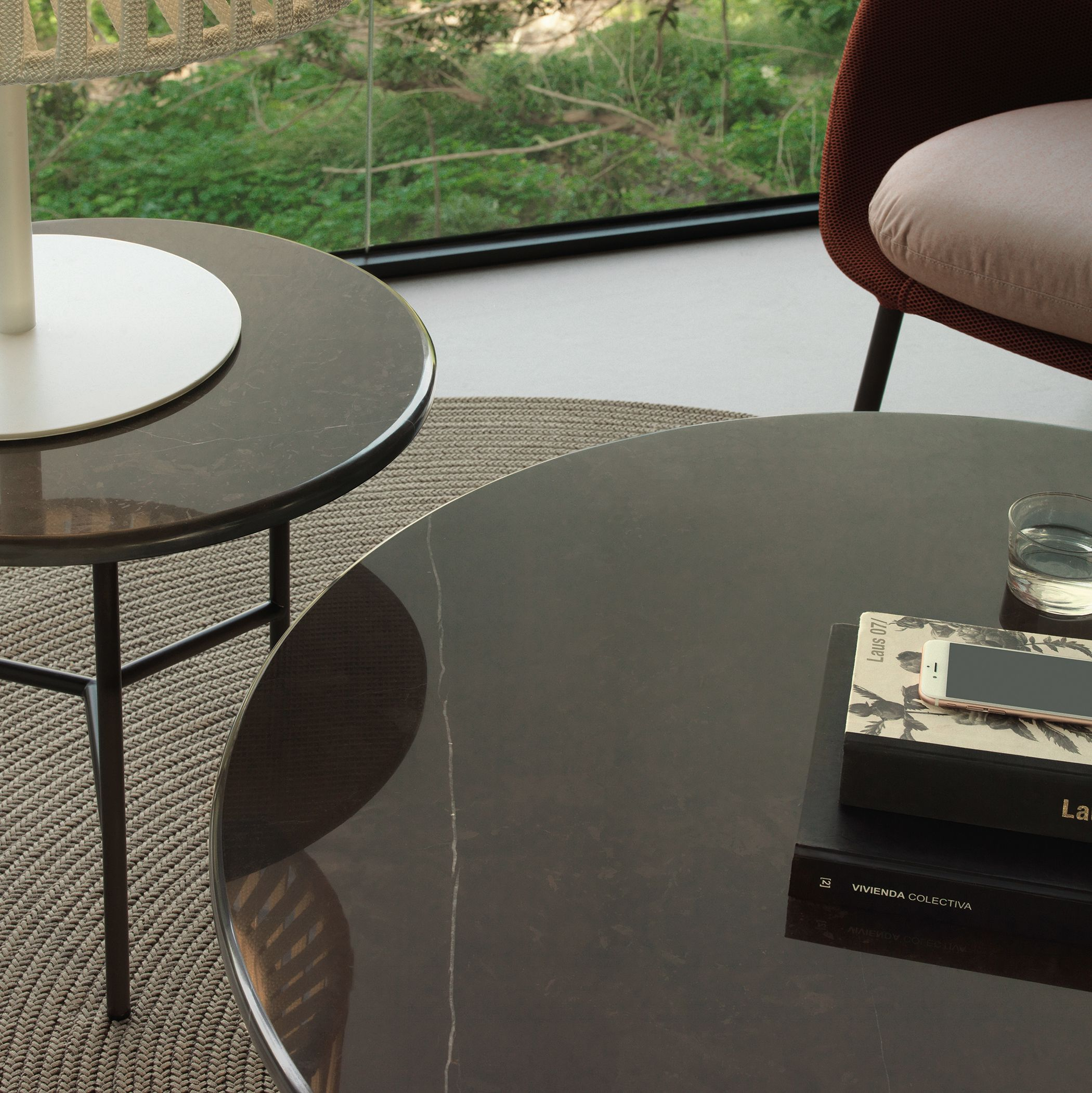 Grada side coffe tables by Lievore Altherr Molina Stainless steel