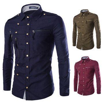 ac90ad4b6e750b Designer Casual Fashion Oblique Asymmetric Stand Collar Designer Shirts for  Men - NewChic Mobile.