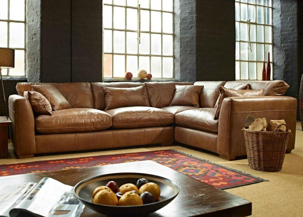 Family Room With Large Brown Leather