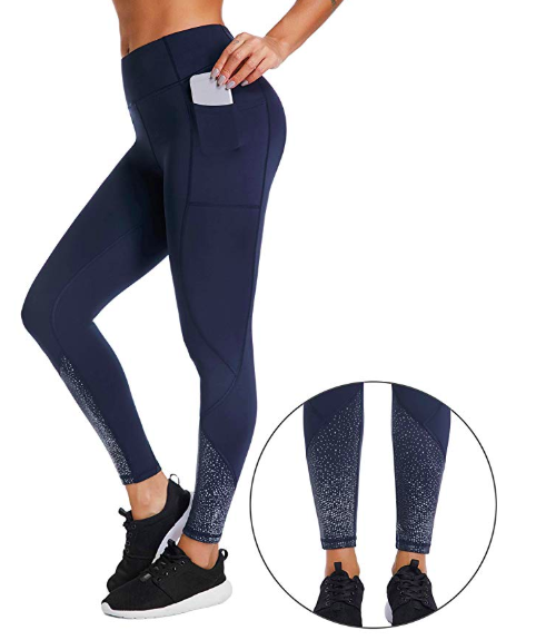 3ae4e2935f467 I love super cute leggings like these that have a pocket! Perfect for  woking out! Workout Capri Leggings High Waist Yoga Pants Tummy Control  Running ...