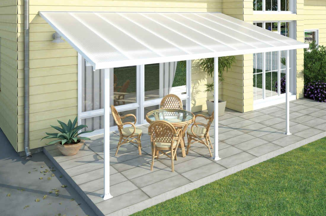 The Elegant Palram Feria 10x20 Patio Cover White Provides The Perfect Covering For Any Backyard Patio Or Outdoor Space Aluminum Pergola Pergola Patio Patio